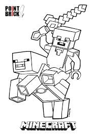 disegni da colorare lego minecraft steve riding piggy clicca