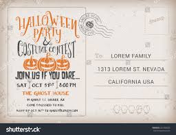 halloween party costume contest invitation template stock vector