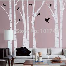 online get cheap birch tree decals aliexpress com alibaba group large size white birch tree wall decal with birds art vinyl tree wall stickers home decor