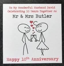personalised wedding anniversary card husband 1st 2nd 10th