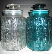 2 vtg imperial glass atterbury scroll clear u0026 aqua blue canister