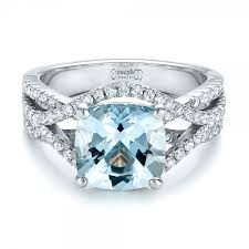 aquamarine and diamond ring custom aquamarine and diamond engagement ring 100895