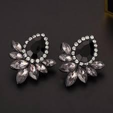 s earrings women s fashion earrings glass black resin sweet metal with gems