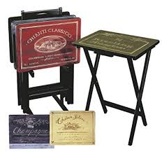 tv tray tables amazon amazon com cape craftsman tv tray set with stand wine label set