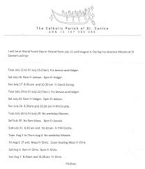 Employment History Example Mass Times Catholic Parish Of St Canice