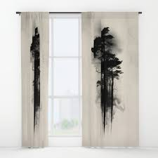 black white window curtains society6