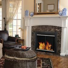 pleasant hearth alsip cabinet fireplace screen and glass doors