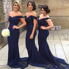 navy blue bridesmaid dresses off shoulder lace beaded chiffon