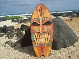 Tiki Home Decor Large Angry Tiki God Tropical Hawaiian Island Surfboard Sign Beach