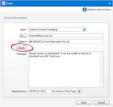 Business Letter Format Sent Via Email Sending Emails Myob Accountright Myob Help Centre