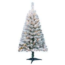 4 ft pre lit flocked pine porch artificial tree with 50 clear ul