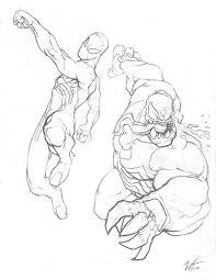 spidey vs venom sketch by westalbott on deviantart