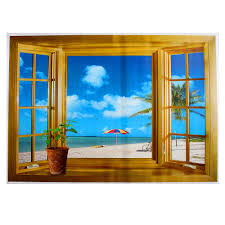 3d window exotic beach sea view wall stickers art decals mural 3d window exotic beach sea view wall stickers art decals mural