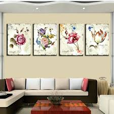 Home Interior Prints Floral Wall 4 Pieces Classic Floral Wall Canvas Prints