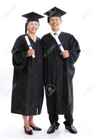 graduation robe asian elderly wearing graduation robe isolated in white