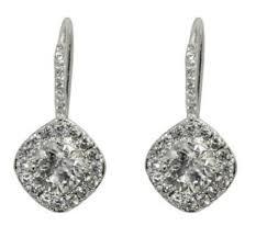 cubic zirconia drop earrings hagir square halo drop earrings cubic zirconia silver