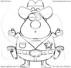 cartoon clipart of a black and white plump cowboy sheriff