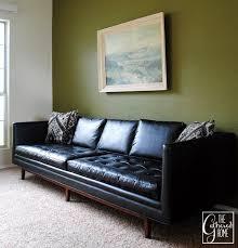 Midcentury Leather Sofa Found Mid Century Modern Black U201cleather U201d Sofa Black Leather