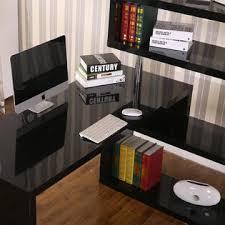 Desk And Bookshelf Combo Homcom Rotating Home Office Corner Desk And Storage Shelf Combo