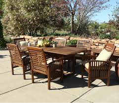 7 Piece Patio Dining Sets - walker edison 7 piece acacia wood patio dining set with cushions
