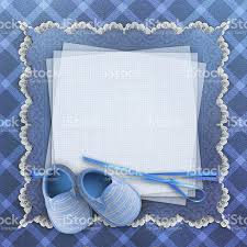 Invitation Card For Christening Free Download Blank Card With Baby Shoes On Blue Background Stock Photo