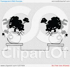 clipart of a vintage black and white potted ornamental trees