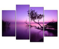 amazon com wieco art purple lake modern 4 piece stretched and