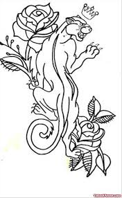 traditional flower and panther tattoo design tattoo viewer com