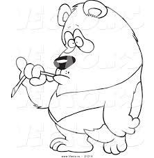 vector of a cartoon bored panda eating bamboo coloring page