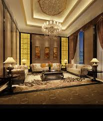 living room high ceiling with chandelier with yellow pattern