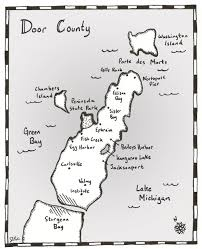 Door County Wisconsin Map by Patricia Skalka Author Dave Cubiak Door County Mysteries