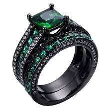 black gold wedding sets size 6 7 8 9 10 green jewelry engagement rings anel aneis cz