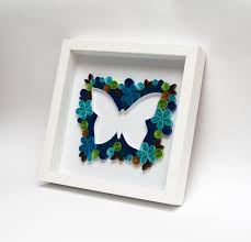 unique framed wall art quilling quilled butterfly blue unusual