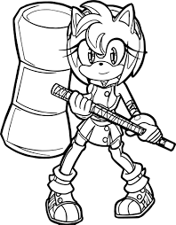 warrior amy rose full coloring page wecoloringpage