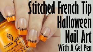 easy halloween nail art stitched french tips youtube
