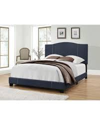 Upholstery Denim Spring Special Etna Modified Camel Back Upholstered Panel Bed