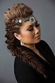day to night hairstyle mohawk braid into fishtail bun