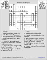 crossword the thanksgiving abcteach