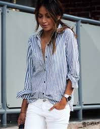 classic blue and white striped button down shirt oasap com