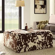 Faux Cowhide Chair Furniture Round Cowhide Ottoman With White Brown Theme