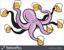 beer cartoon illustration of octopus holding mug of beer tentacles