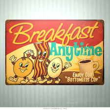 breakfast anytime small kitchen sign 18 x 12 vintage style diner