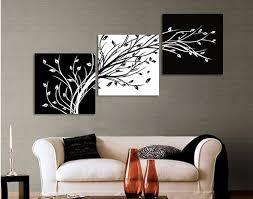 original ink 3 panels black white trees canvas flower painting