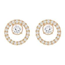 earrings uk swarovski creativity gold clear small circle stud