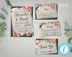 floral bohemian wedding invitation template set rsvp