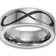 mens infinity wedding band 8mm tungsten laser etched custom infinity name ring couples
