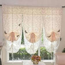 rideaux de cuisine store européenne broderie style cravate up fenêtre rideau