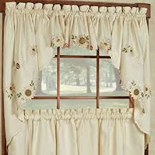 Sunflower Valance Curtains Sunflower Embroidered Kitchen Curtains Tiers