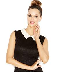 betsey johnson contrast pearl collar lace sheath in black lyst
