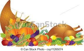 thanksgiving day feast cornucopia and turkey illustration
